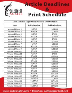 Article Deadlines and Print Schedule
