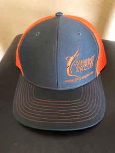 Saltwater Angler Hat Safety Orange Charcoal