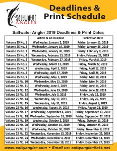Saltwater Angler Print Dates and Deadlines 2019