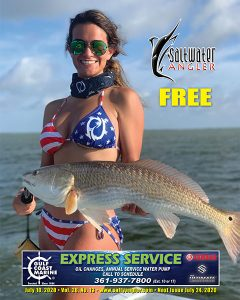 Andrea Hartley with a 29 inch redfish in Corpus Christi, Texas