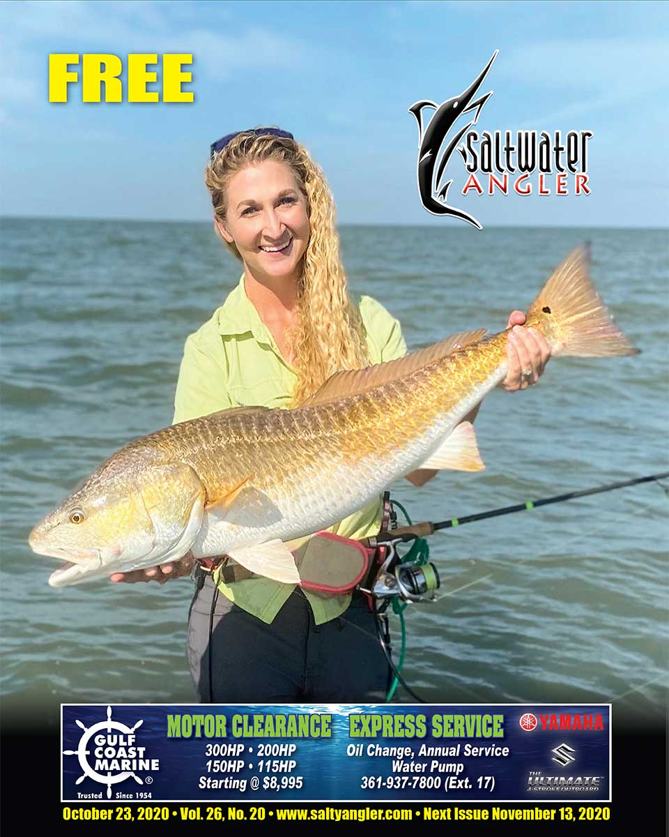 Sarah Winslow with a redfish in Corpus Christi Bay