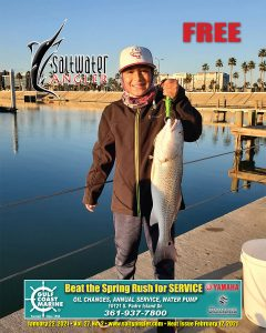 "Caleb Perales, fishing with dad caught a 26"" red on live shrimp."