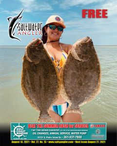 Sheena Guerra, of Corpus Christi with a 4.8 and 4.3 lb flounder caught Saturday July 10, 2021 down south in Baffin on gulp.
