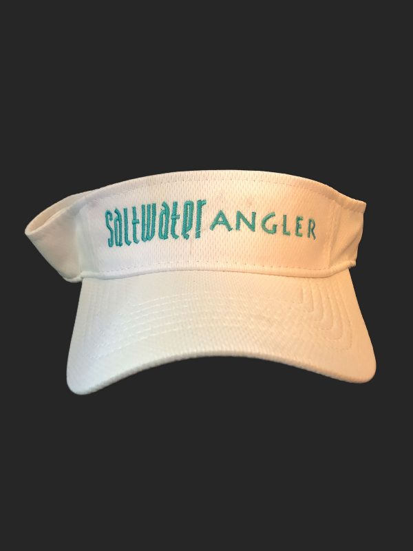 Saltwater Angler White and Teal Visor